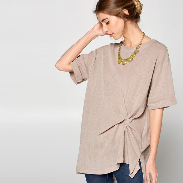 Gathered Side Knit Top - Love, Kuza