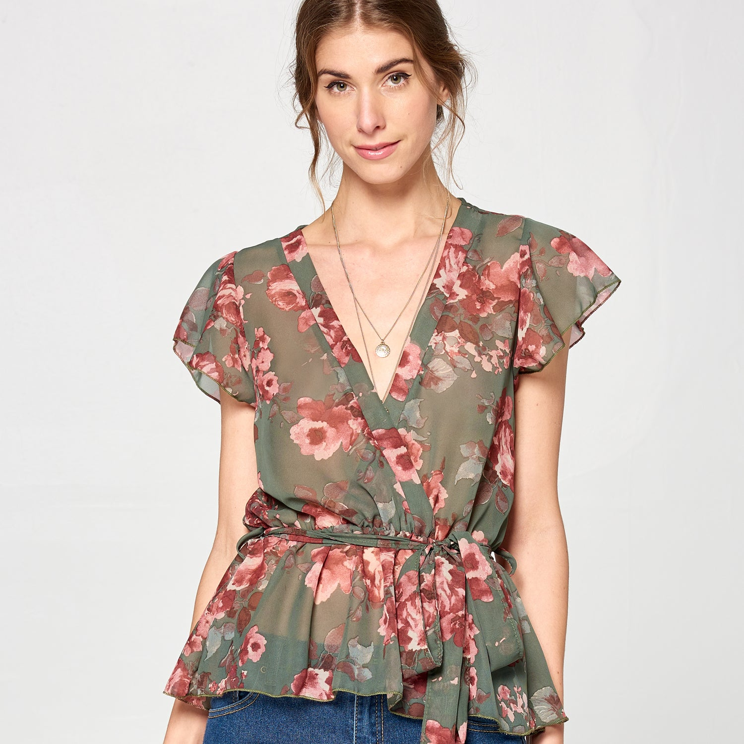 Floral Chiffon Surplice Top - Love, Kuza