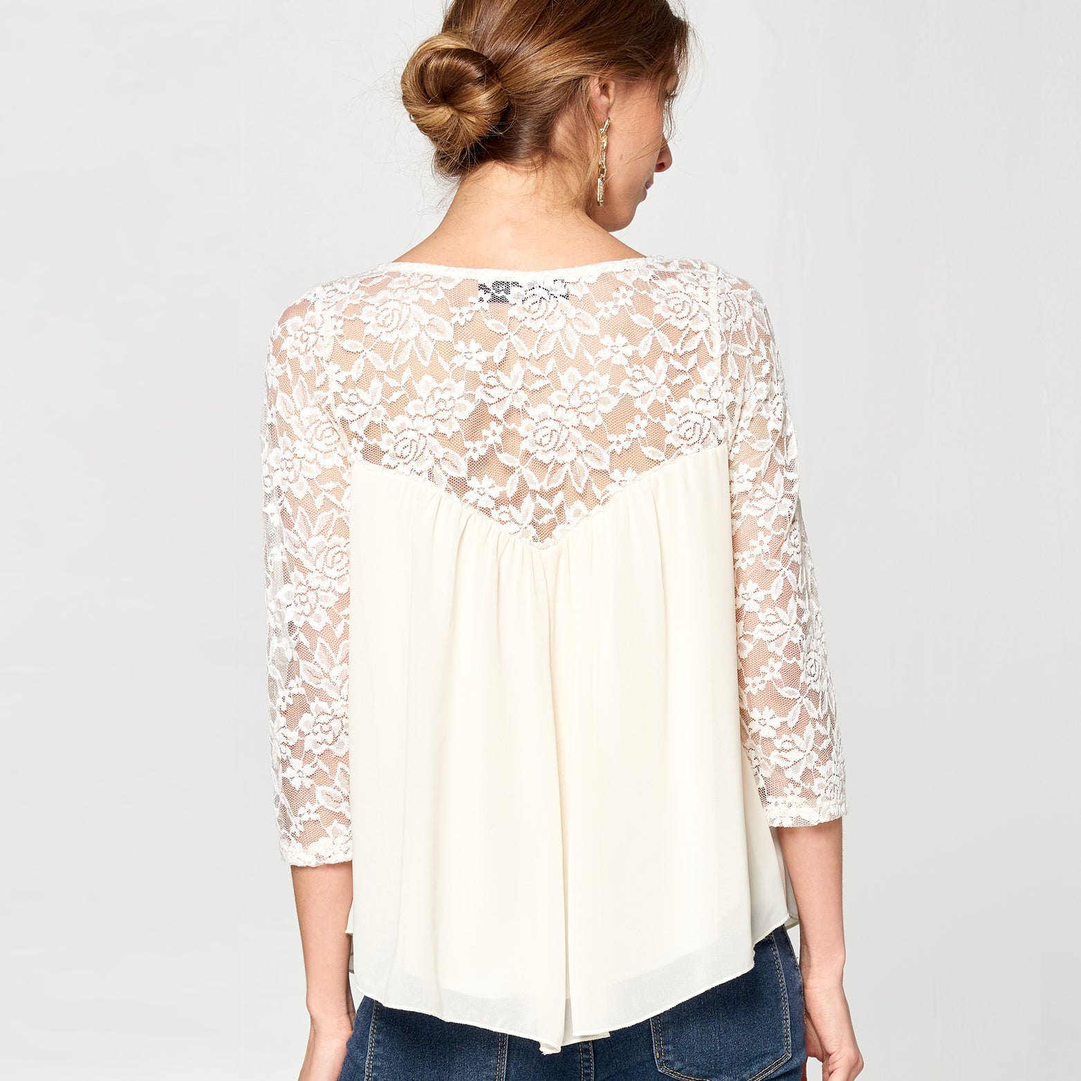 Lace Yoke Chiffon Top