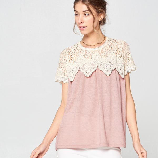 Pastel Crochet Yoke Top