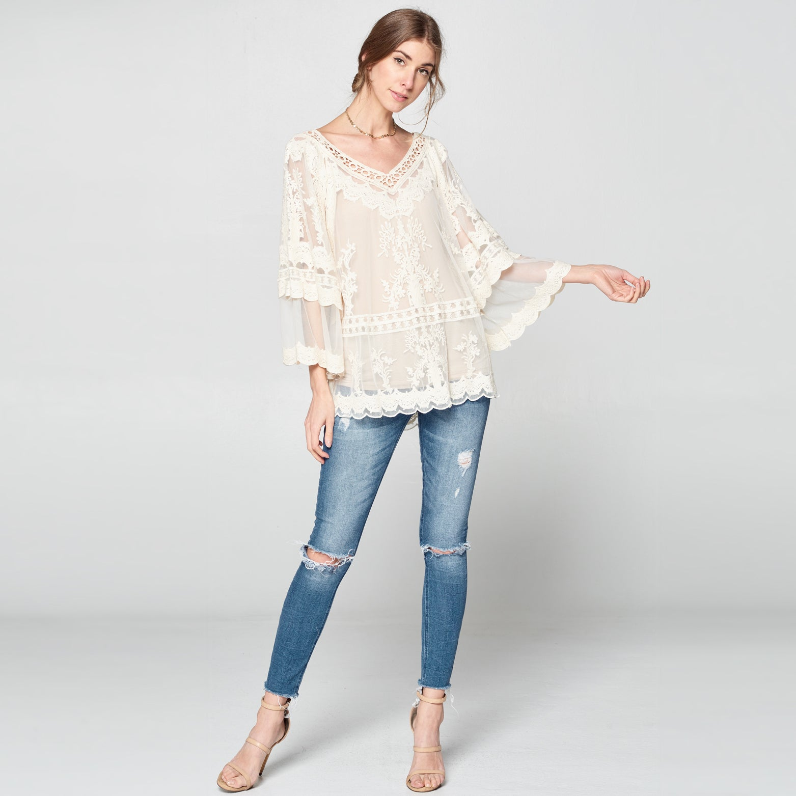 Embroidered Fleur Lace Top