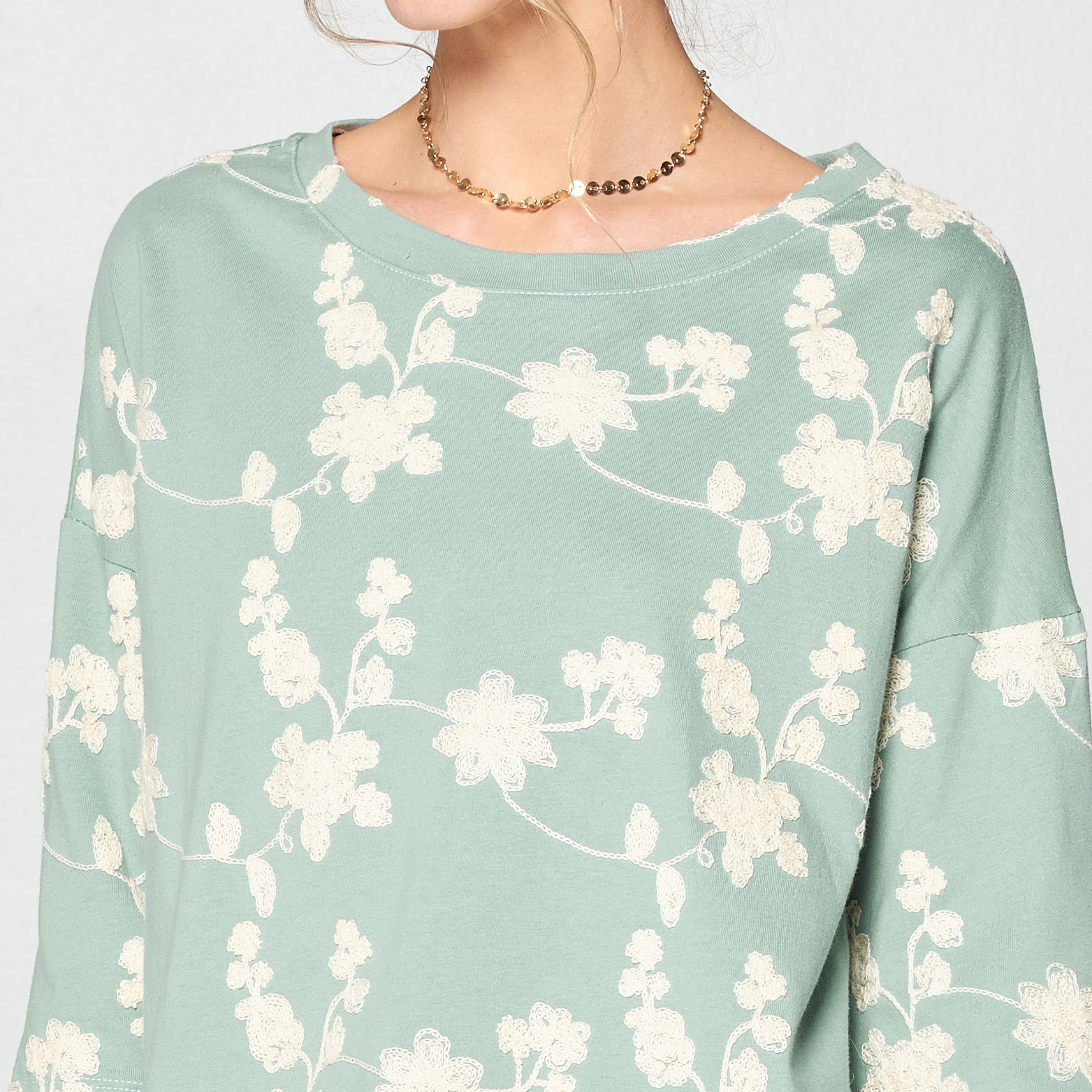 Chiffon Hem Embroidered Top