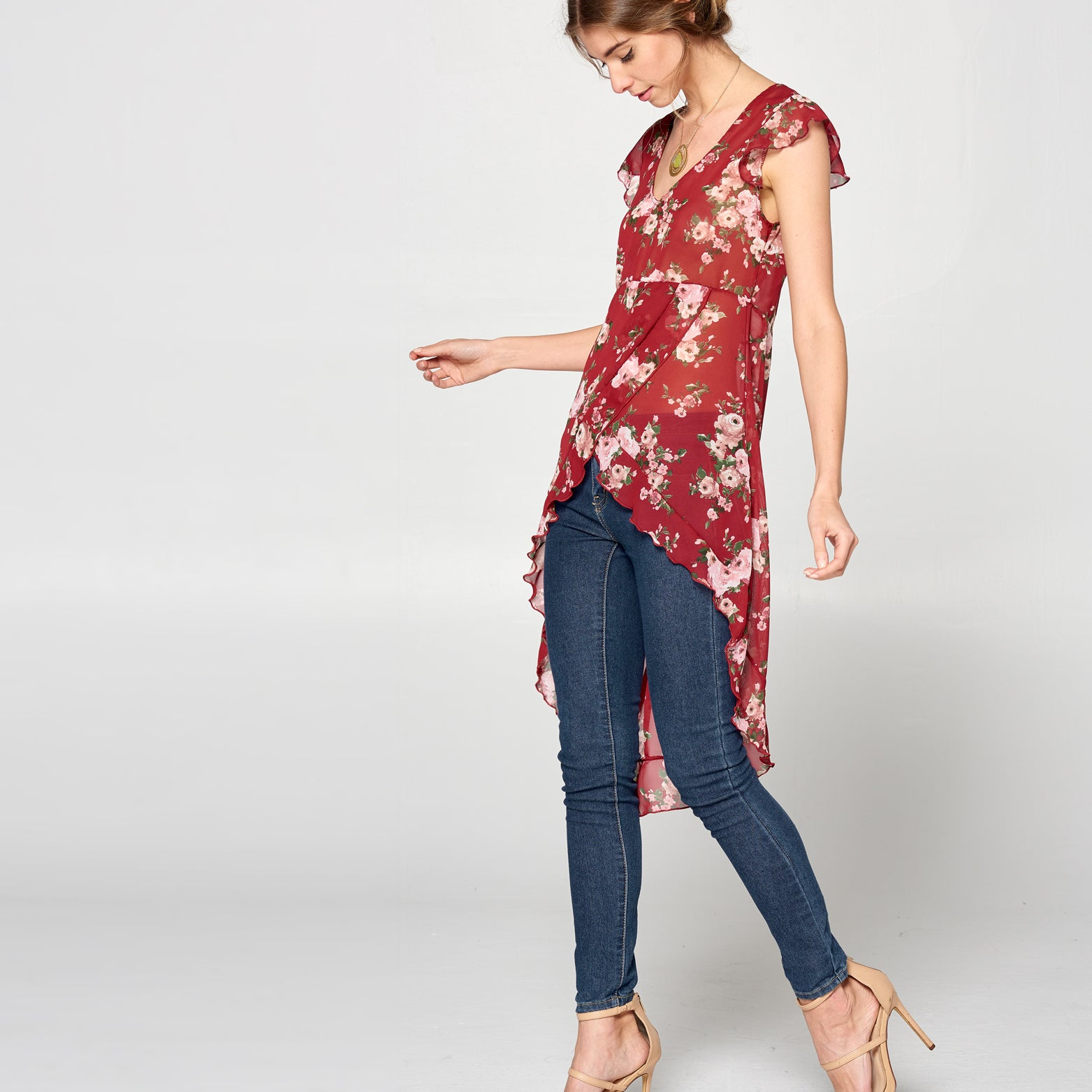 Floral High Low Chiffon Top