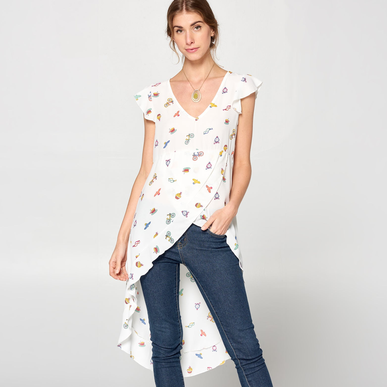 Funday High Low Chiffon Top