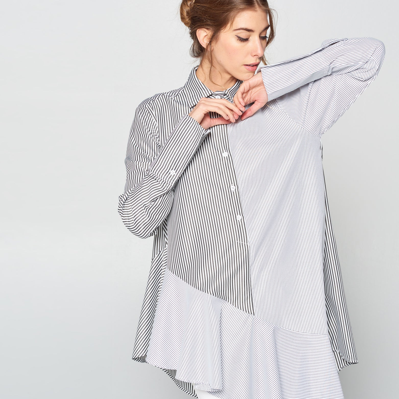 Asymmetrical Striped Popover Shirt