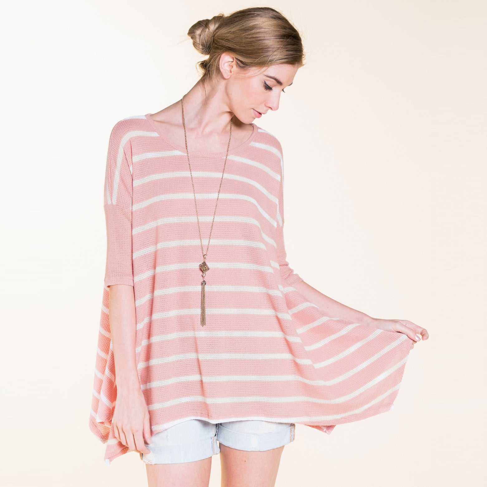 Thermal Stripe Swing Tunic - Love, Kuza