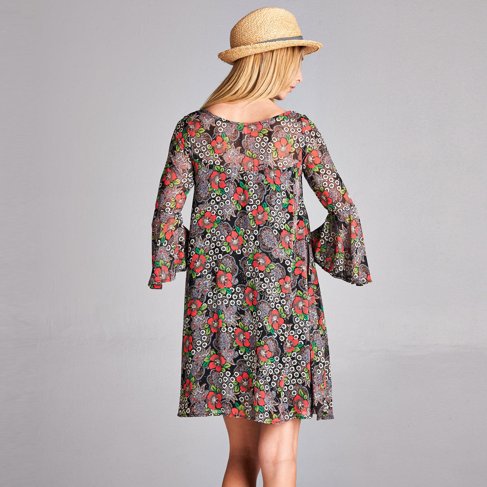 Floral Chiffon Shift Dress