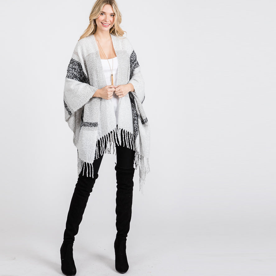 Plaid Print Fringed Poncho