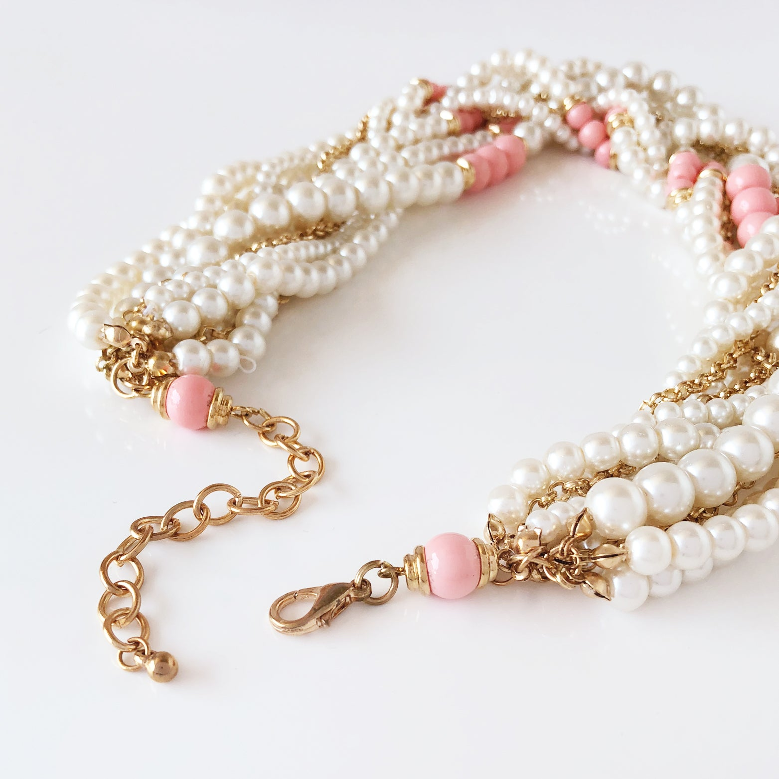 Chunky Pearl Braided Necklace - Love, Kuza