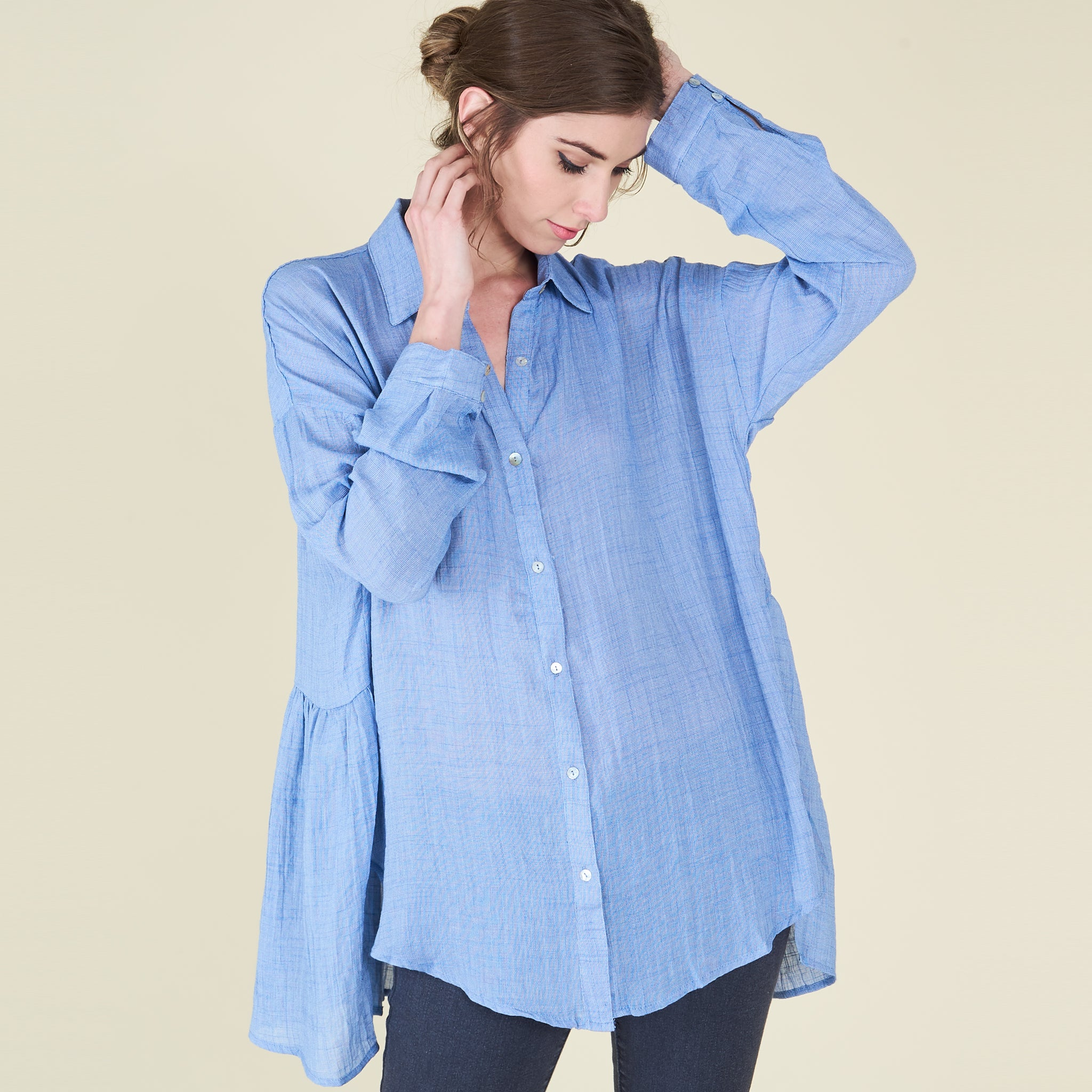 Crinkle Button Down Shirt