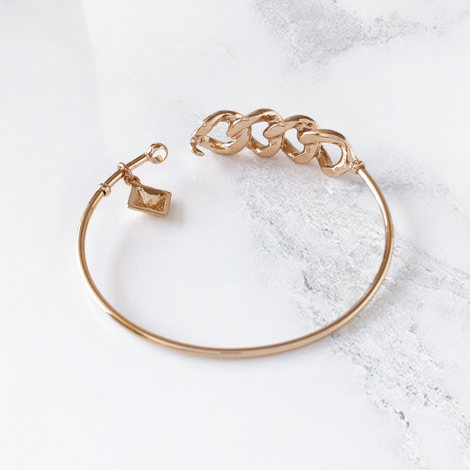 Curb Chain & Charm Bangle