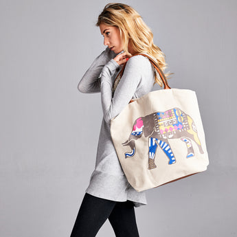 Lucky Elephant Print Large Canvas Tote Bag
