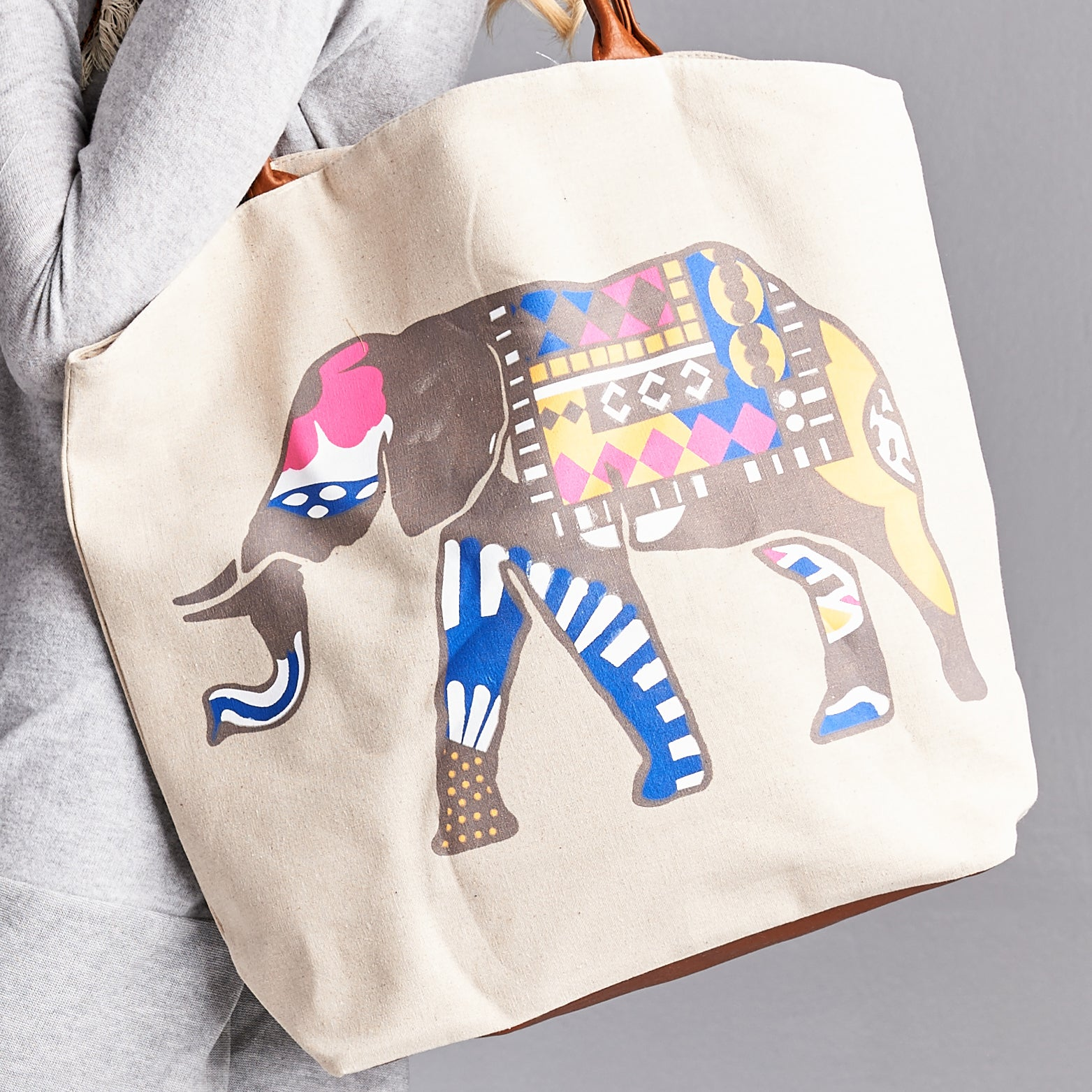 Tribal Elephant Canvas Tote - Love, Kuza