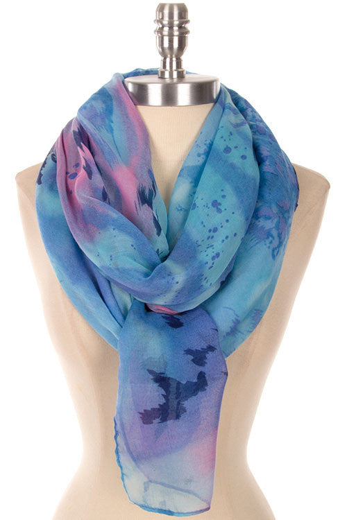 Dreamy Brushstroke Watercolor Print Scarf