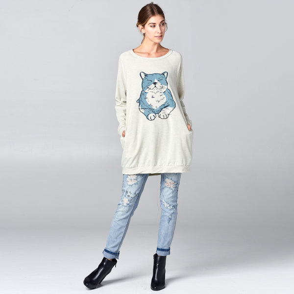 Blue Cat Print Long Sweatshirt