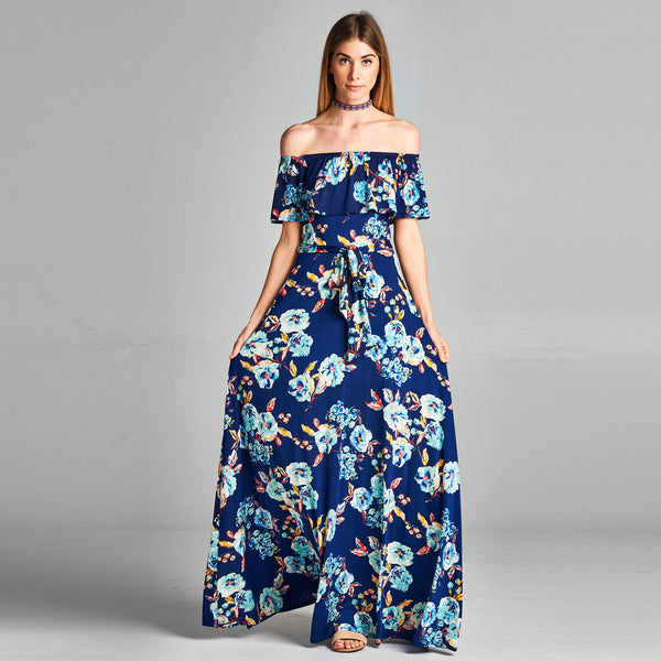 Floral Poppy Cold Shoulder Maxi - Love, Kuza