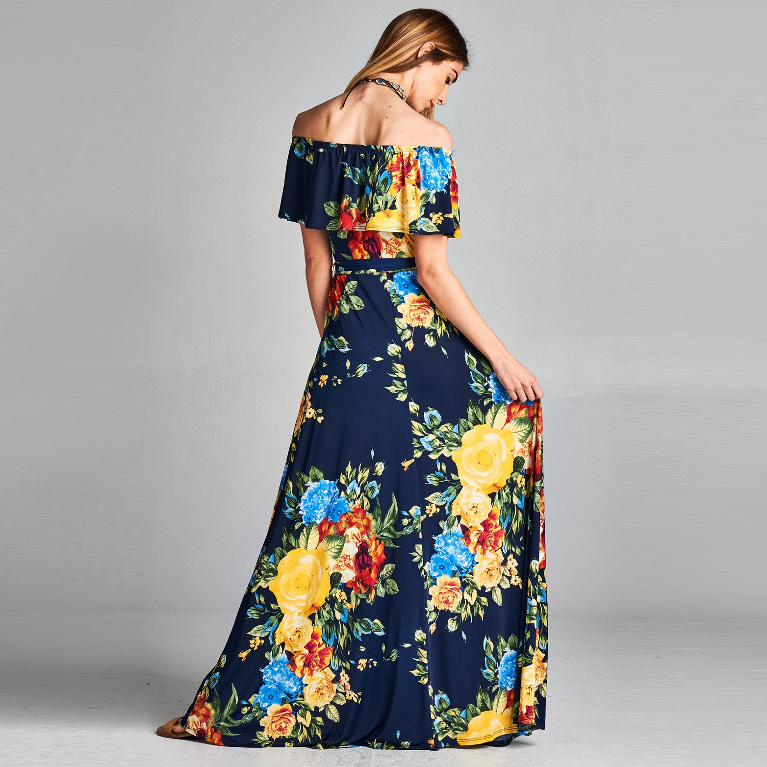 Floral Roses Cold Shoulder Maxi Dress