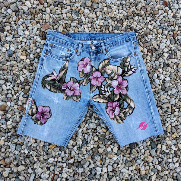 SS19 HAWAIIAN DENIM SHORTS