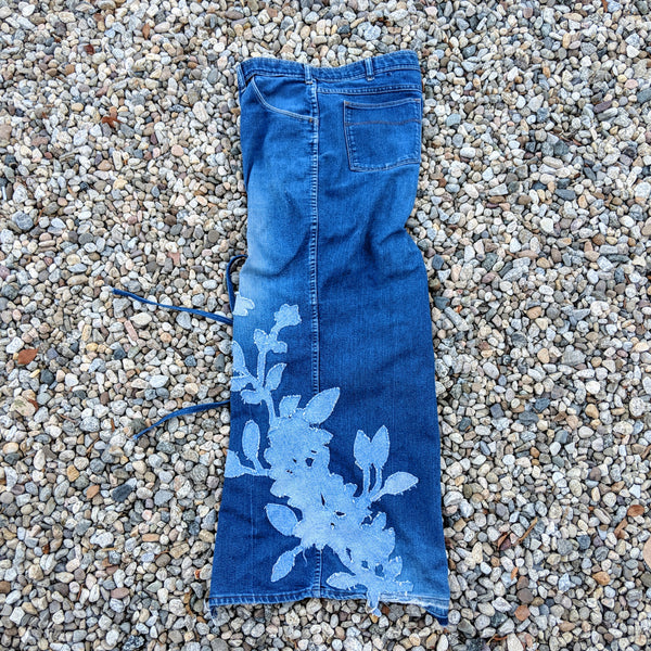 SS19 DENIM FOLIAGE TUBE DRESS