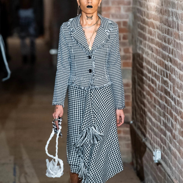 FW19 PATCHWORK Houndstooth Coat Dress