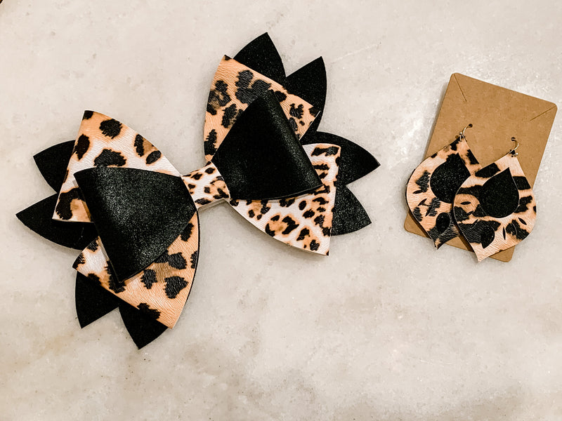 Mommy & Me Bow & Earring Set - Leopard