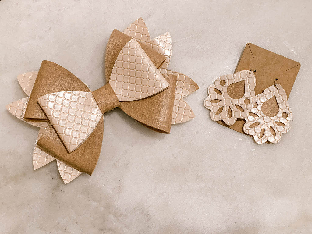 Mommy & Me Bow & Earring Set - Blush
