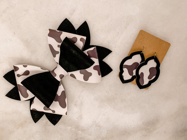 Mommy & Me Bow & Earring Set - Cow