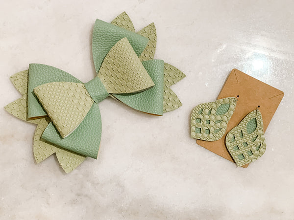 Mommy & Me Bow & Earring Set - Sage