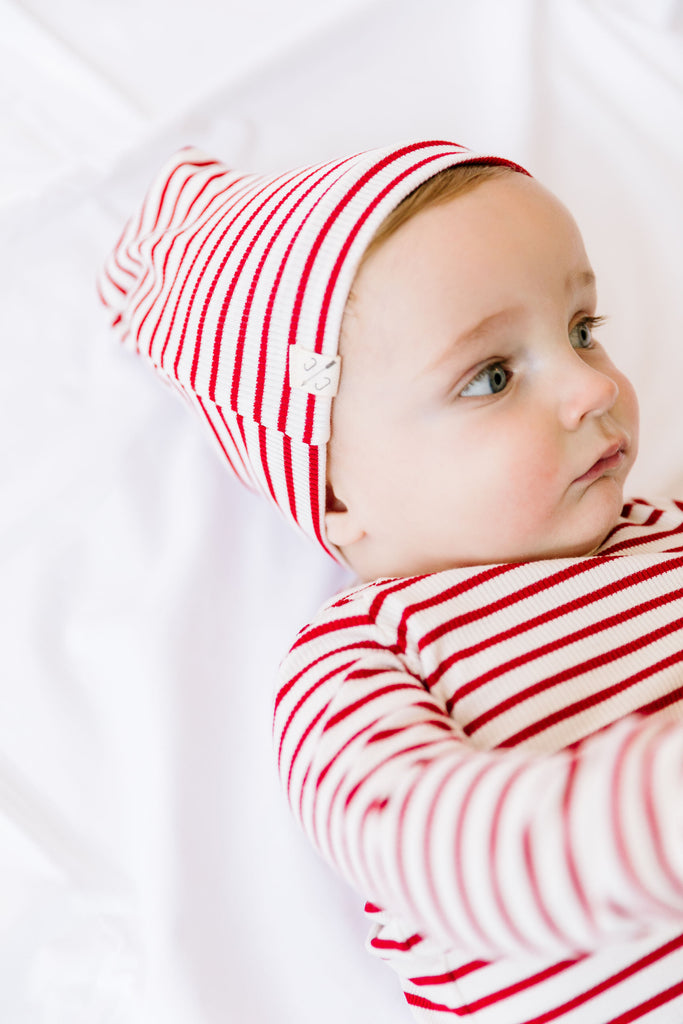 slouch beanie in 'candy cane stripe'
