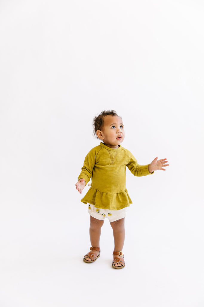 spring peplum crew in 'chartreuse'
