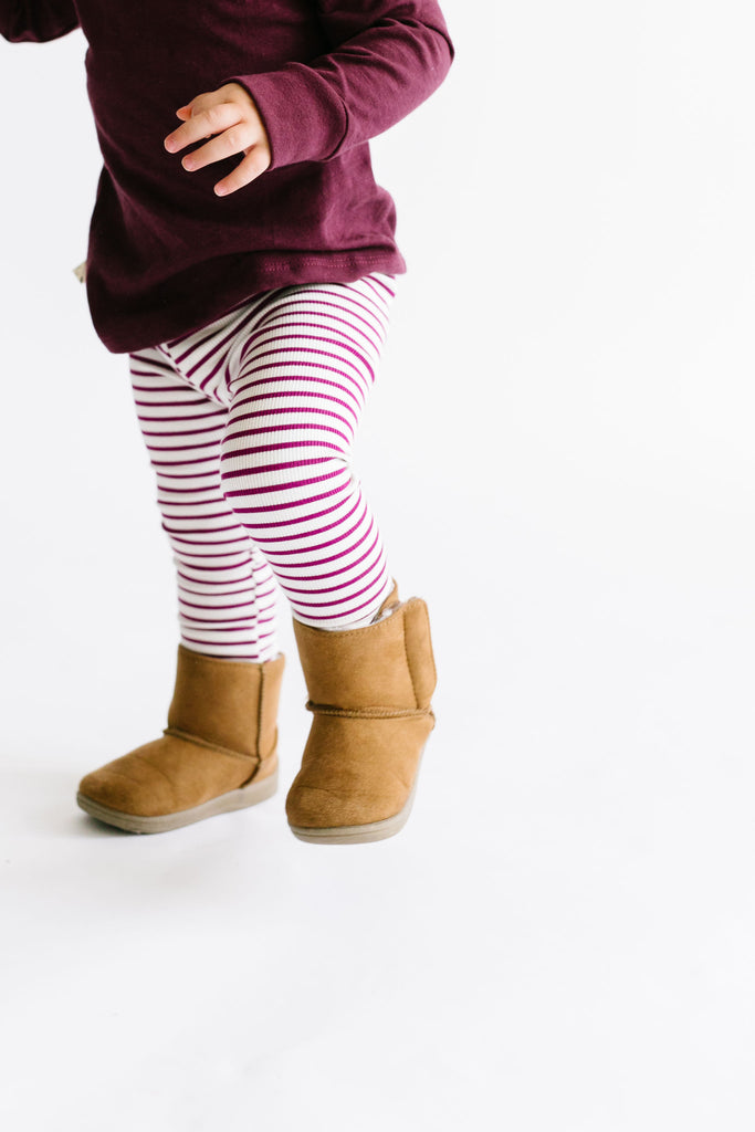 leggings - mulberry stripe
