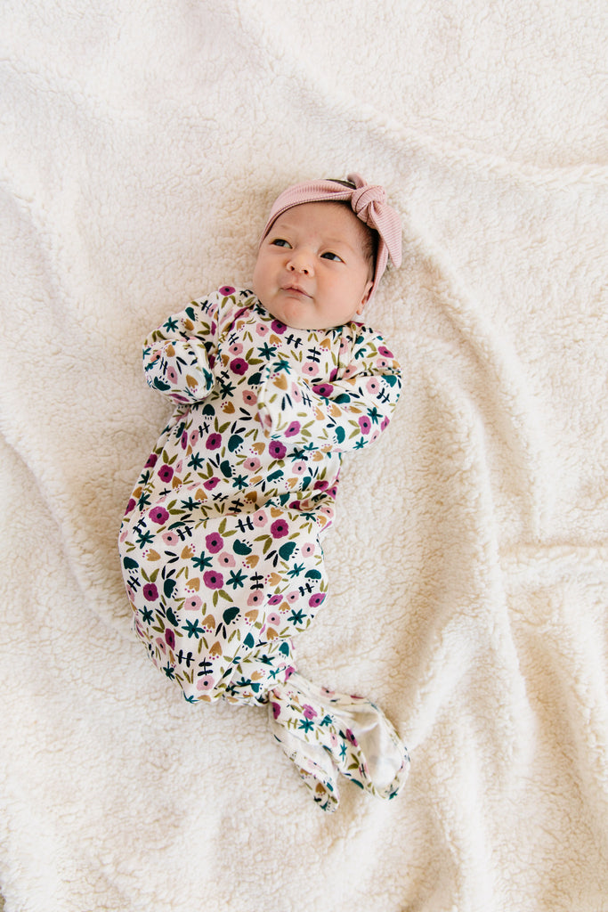 ribbed knotted sleeper - fall ditsy floral