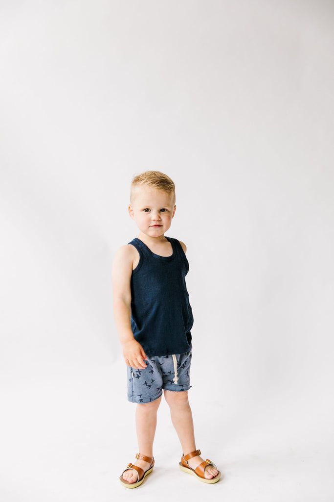 boy shorts in 'birds' on steel blue