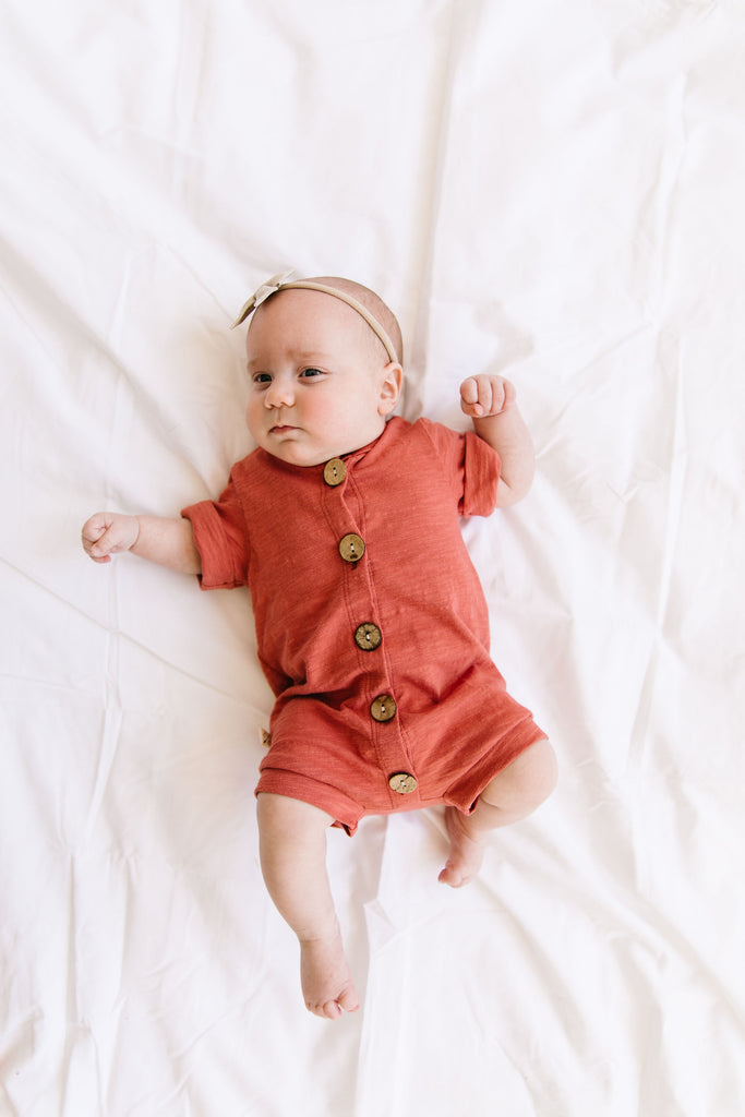 jersey rolled sleeve romper - adobe
