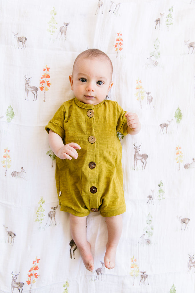 jersey rolled sleeve romper in 'chartreuse'