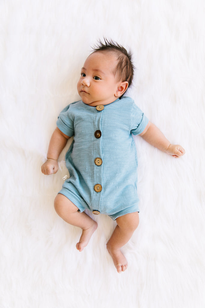 jersey rolled sleeve romper in 'carolina blue'