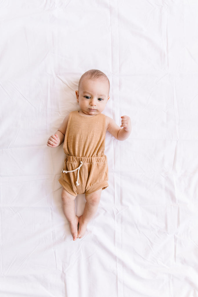 jersey romper shortie in 'camel'