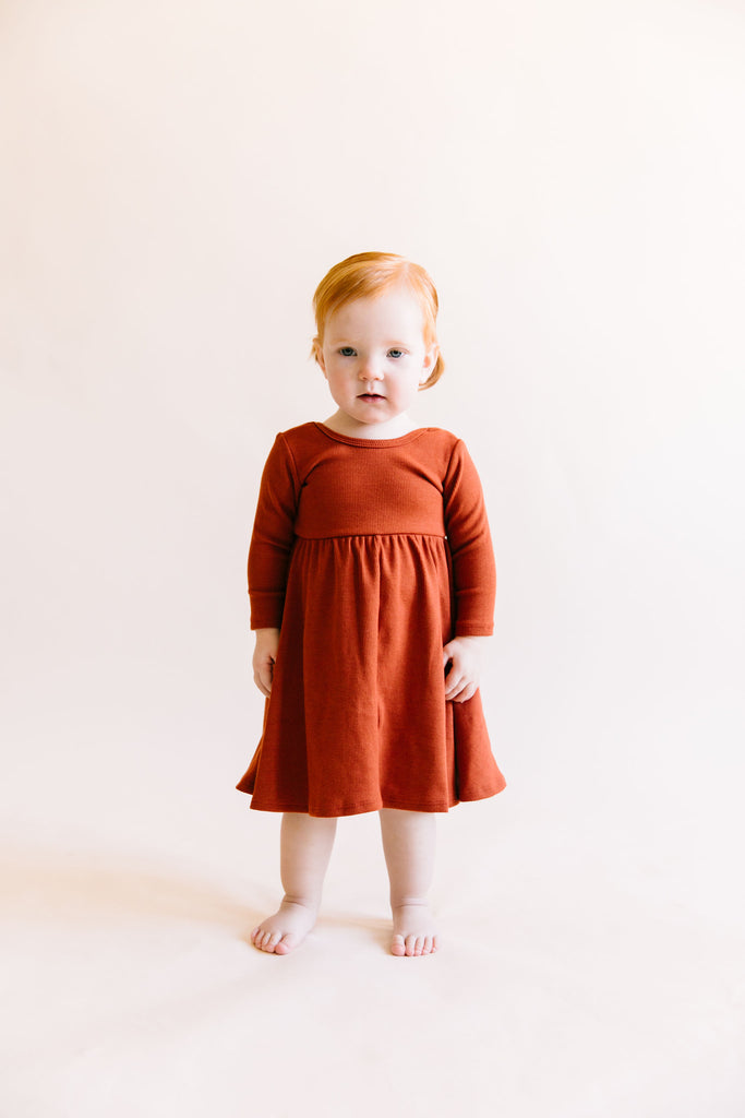 long sleeve swing dress in 'cinnamon'