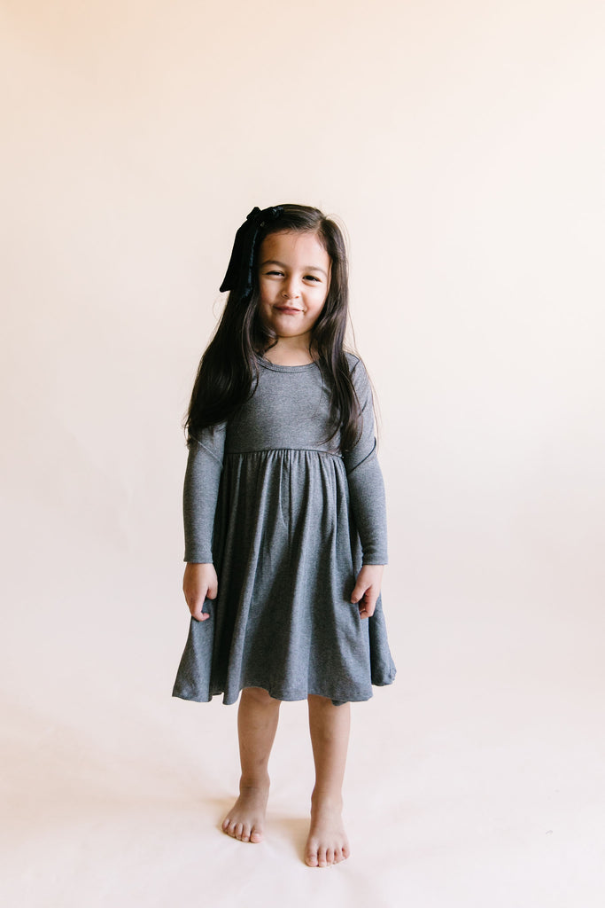 long sleeve swing dress in 'iron gray'