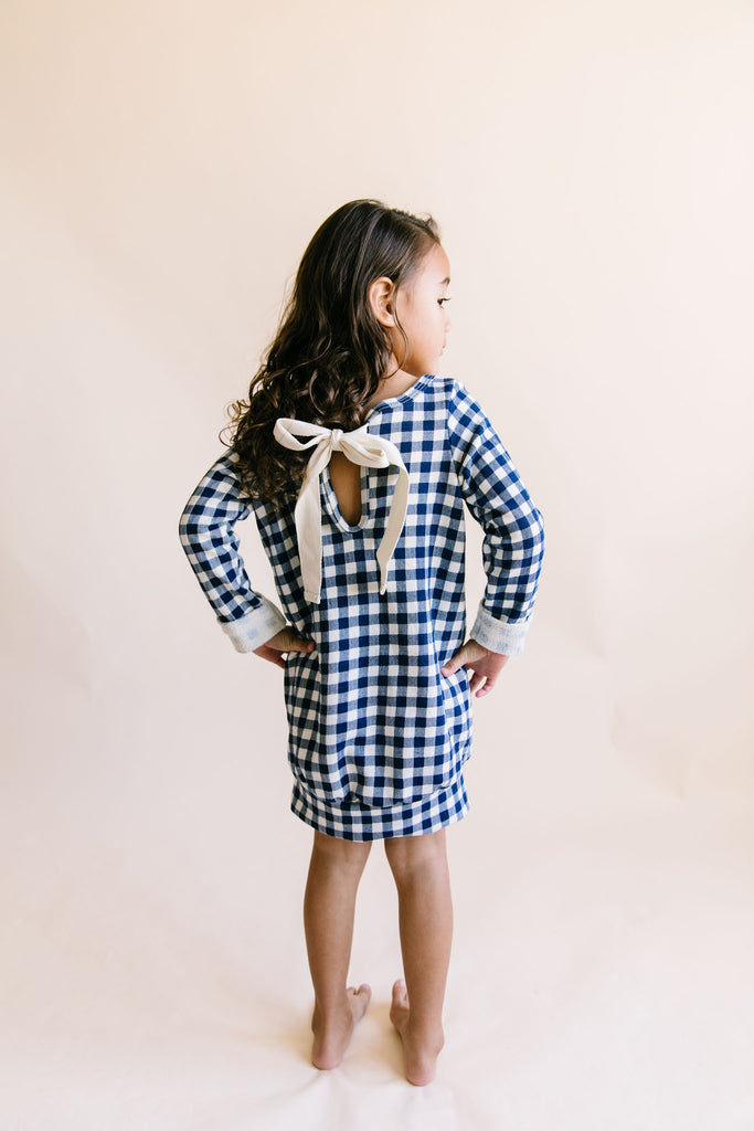 ribbon dress - navy plaid