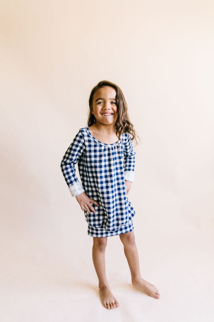 ribbon dress in 'navy plaid'