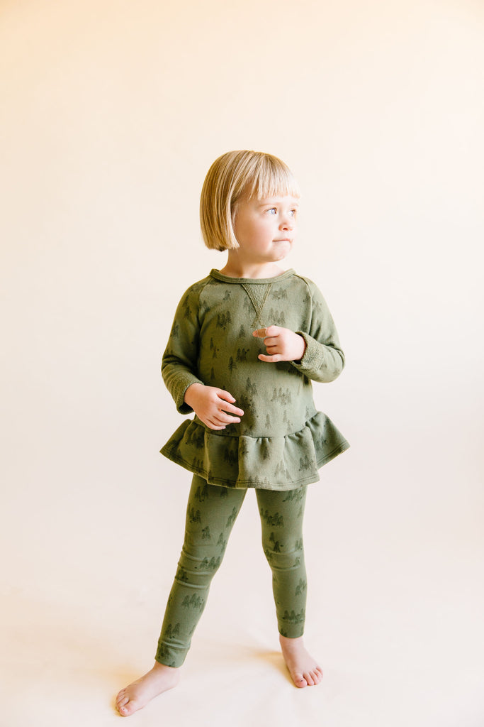 peplum crew in 'trees' on olive