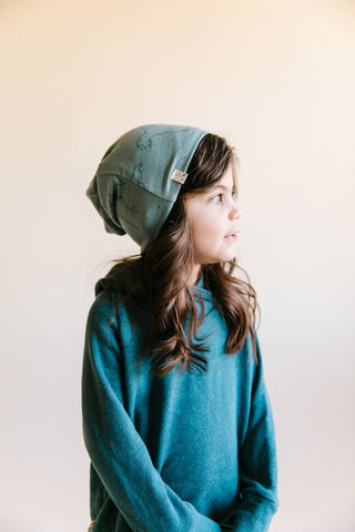 slouch beanie - maps on oil blue
