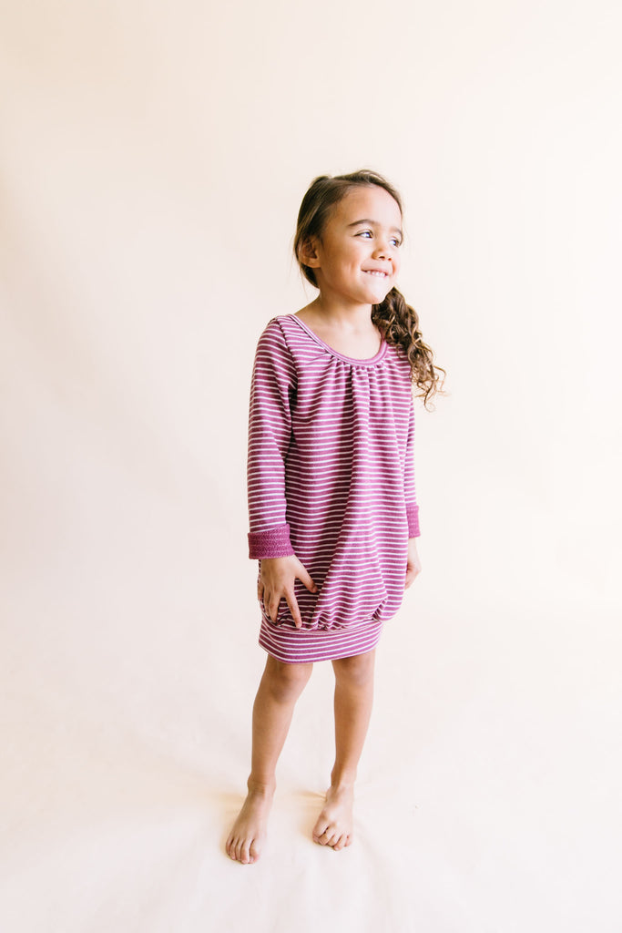 ribbon dress - sangria stripe