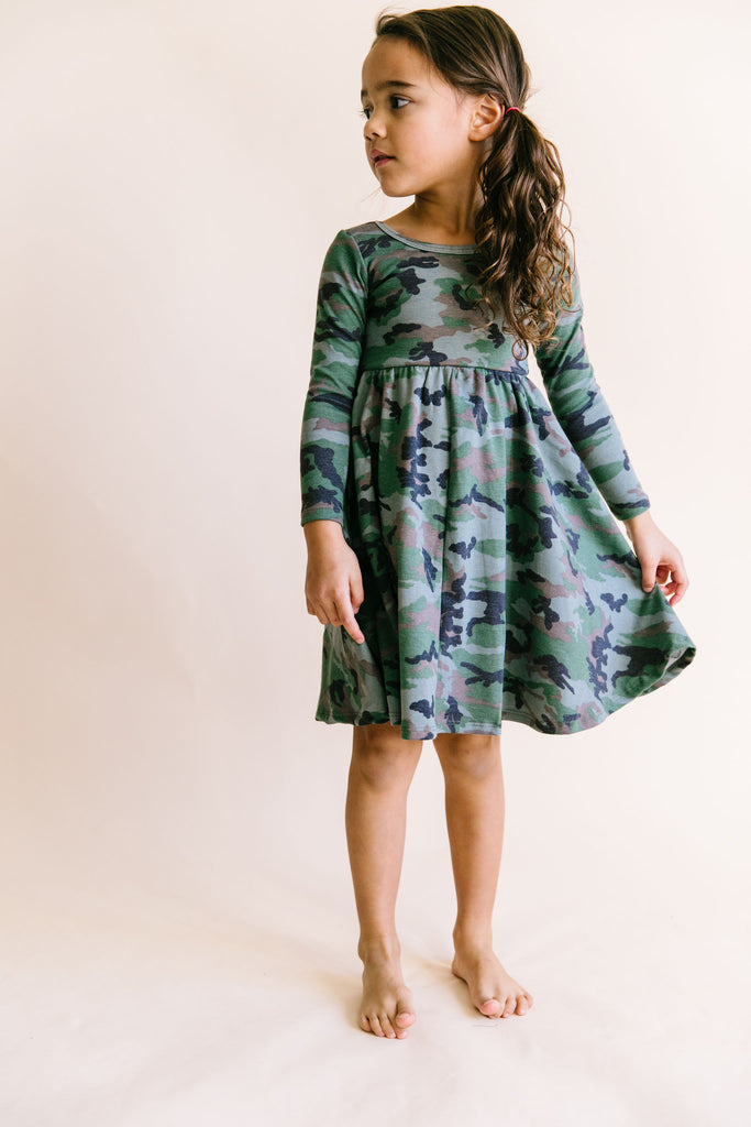 long sleeve swing dress in 'micro camo'