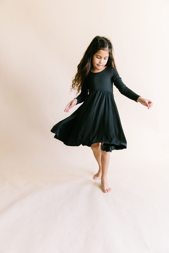 long sleeve swing dress - midnight