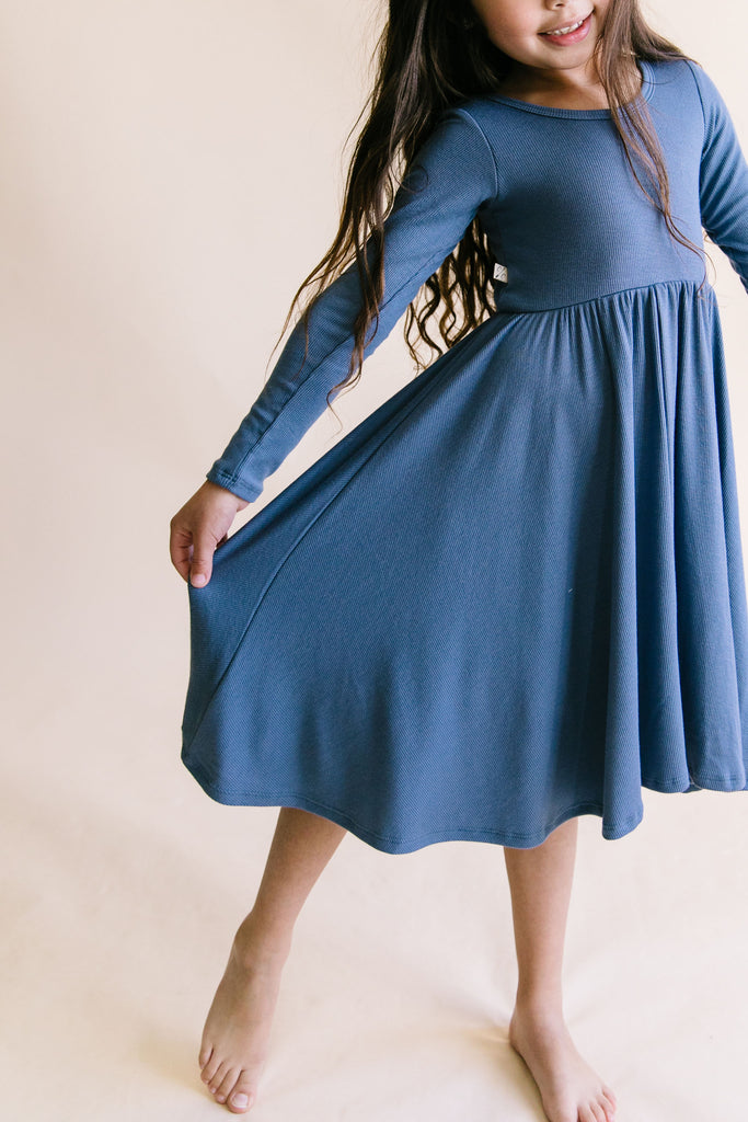 long sleeve swing dress in 'steel blue'