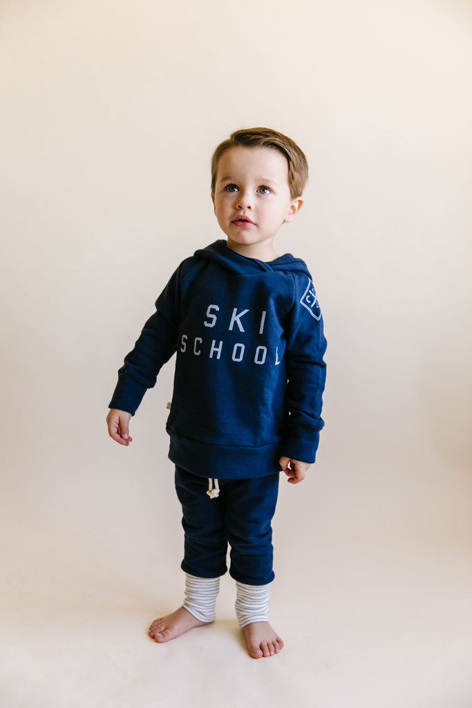 trademark raglan hoodie - ski school on navy