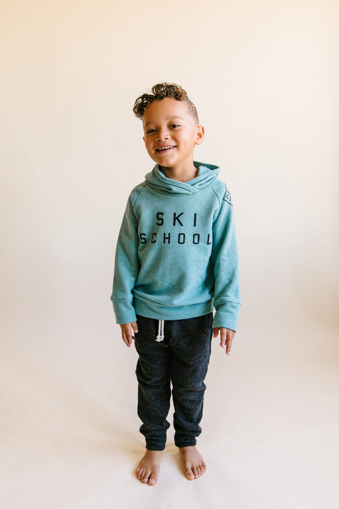 trademark raglan hoodie - ski school on oil blue