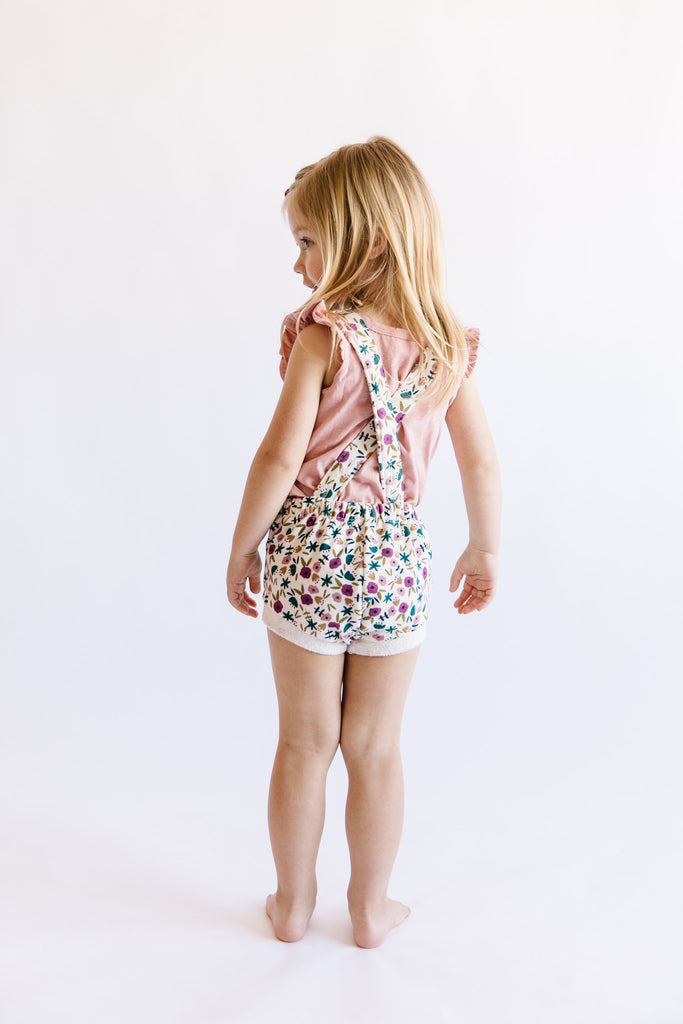 romper shortie in 'fall ditsy floral'